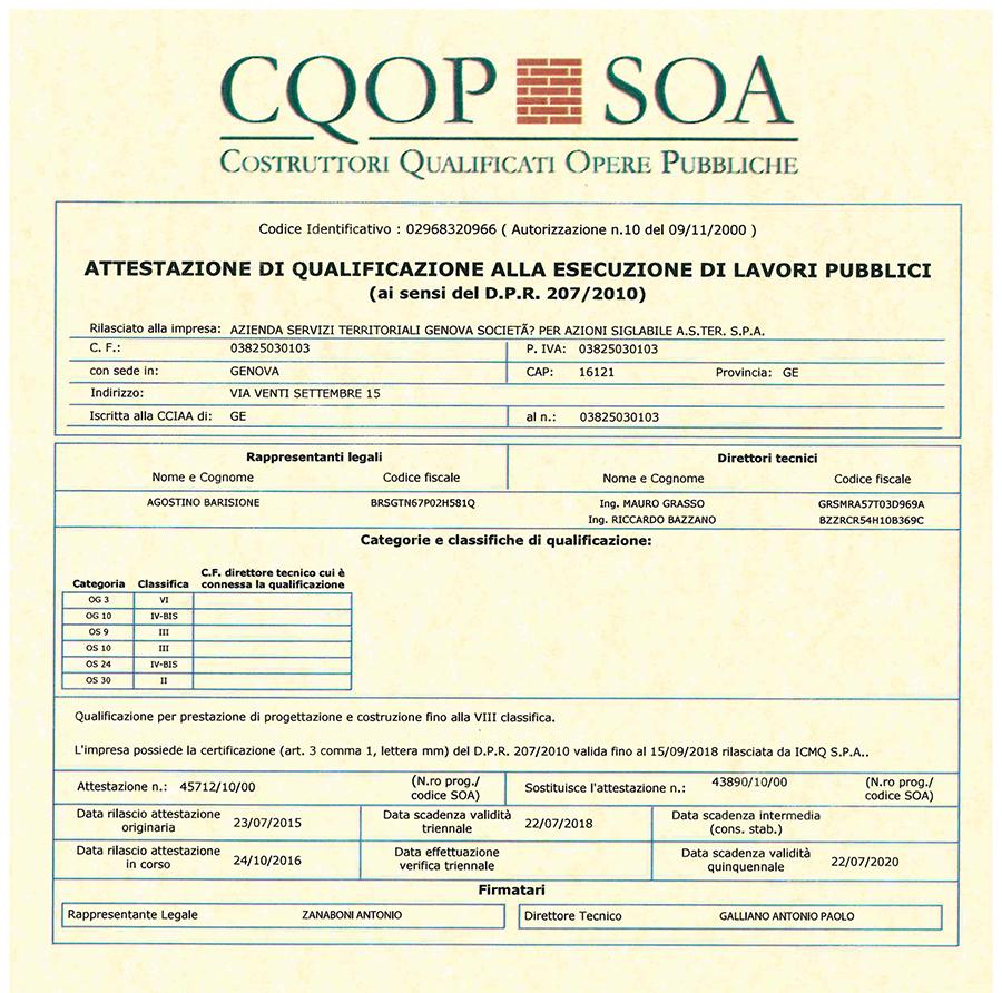 certificazione SOA ASTer