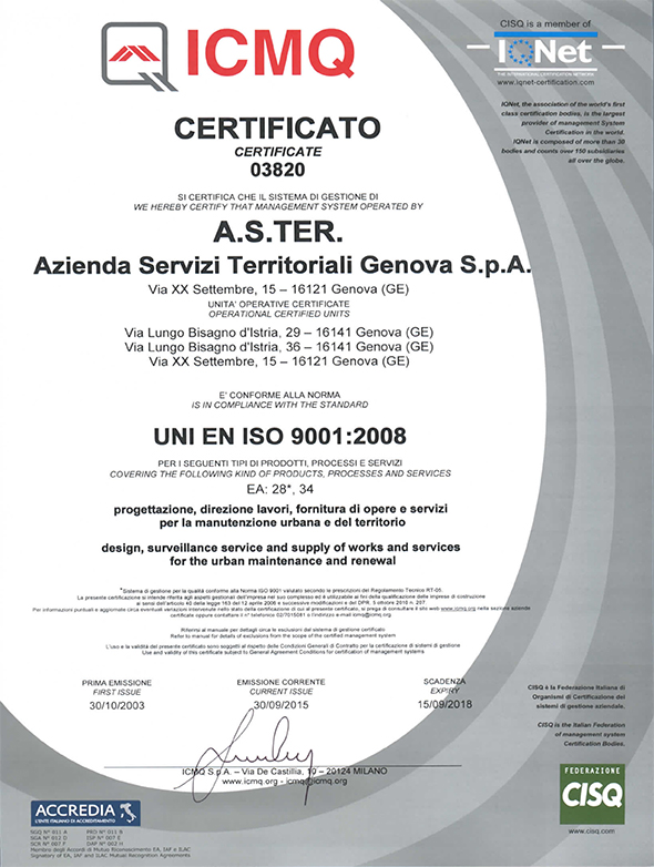 certificazione ISO 9001-2008 ASTer iqnet