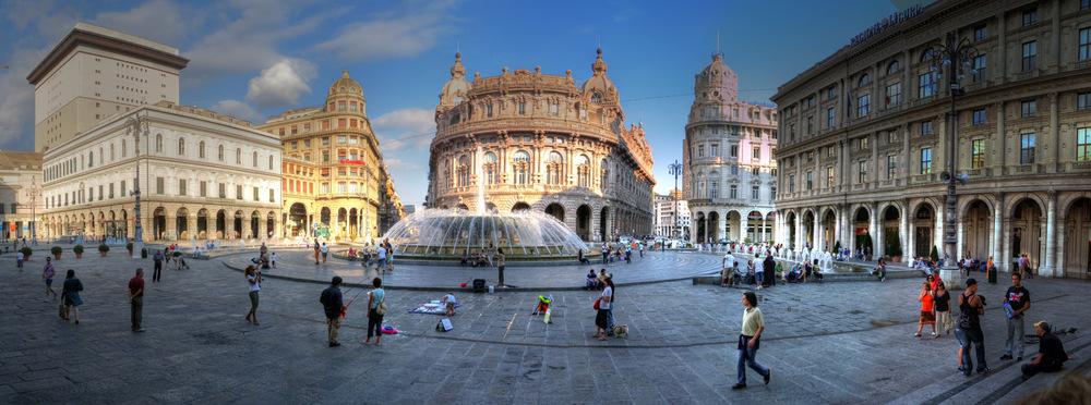 Manutenzione della Fontana di Piazza de Ferrari