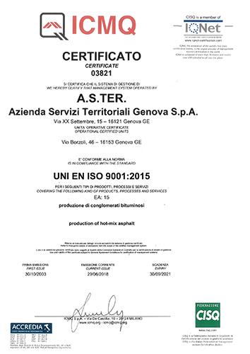 certificazione UNI EN ISO 9001-2008 ASTer conglomerati