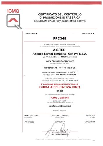 certificato di controllo di produzione in fabbrica ISO 9001