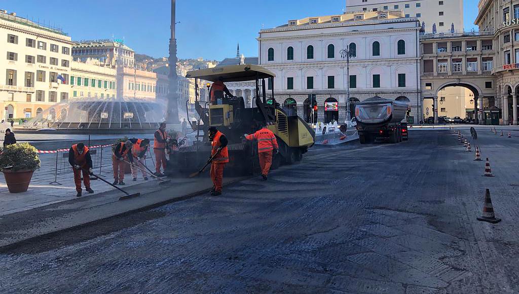 A.S.Ter. all'opera in Piazza De Ferrari
